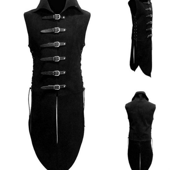 Adult Men Medieval Renaissance Knight Soldier Armor Costume Vest High Neck Shirt Leather Buttons