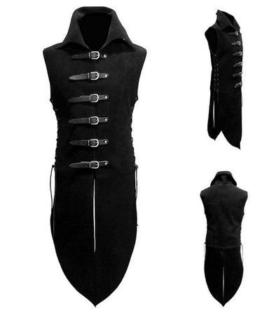 Adult Men Medieval Renaissance Knight Soldier Armor Costume Vest High Neck Shirt Leather Buttons - Cosplay Infinity