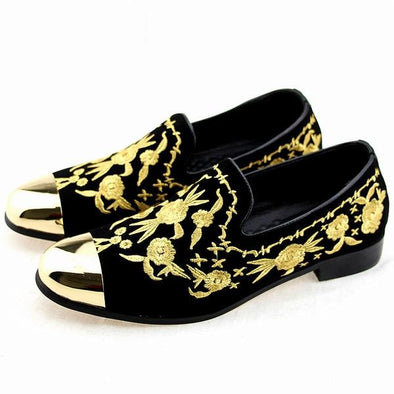 Men Fashion Suede Leather Loafers Embroidery Driving Party Flats Men's Moccasins Oxfords Casual Shoes - Cosplay Infinity