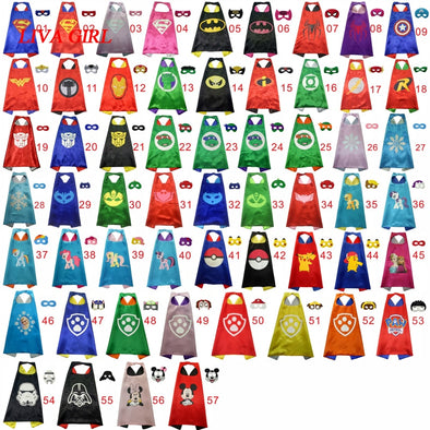 Superhero Cape (1 Cape +1 Mask) Halloween Costume Super Hero Capes Kids Party Cosplay - Cosplay Infinity