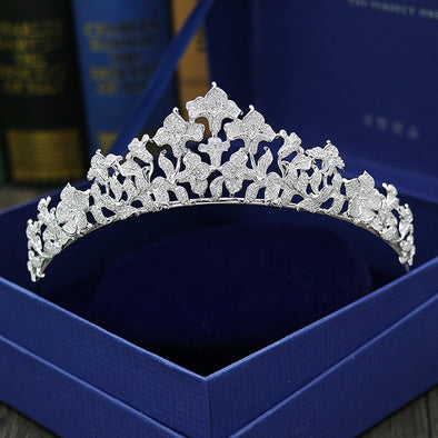 Paved CZ Crown Full Cubic Zircon Tiara Diadem Wedding Hair Accessories Bride Hair Jewelry - Cosplay Infinity