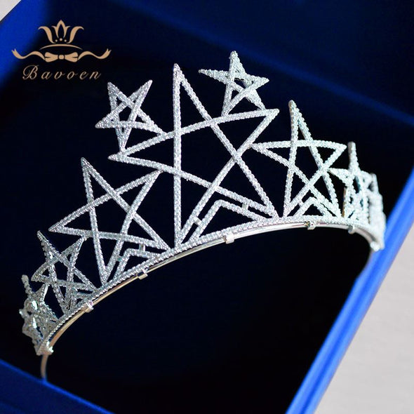 Bavoen Top Quality European Great Stars Brides Crowns Zircon Crystal Tiara Headpieces Evening Hair Accessories Prom Hair Jewelry