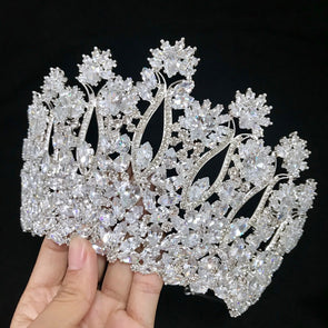 Cubic Zircon Crown Tiara Silver/Gold Bigger Crown Rhinestones Royal Queen Princess Cosplay