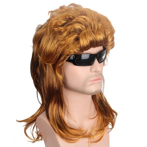 Gold Mullet Synthetic Hair Wig Natural Wave Brown Wig for Men USA Punk Hairstyle Joe Dirt - Cosplay Infinity
