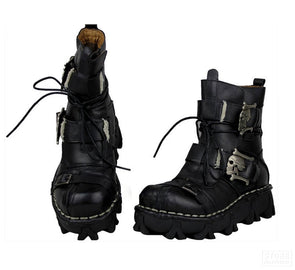 Cowhide Leather Skull Punk Motorcycle Steampunk Boots Men Retro Biker Riding Gear