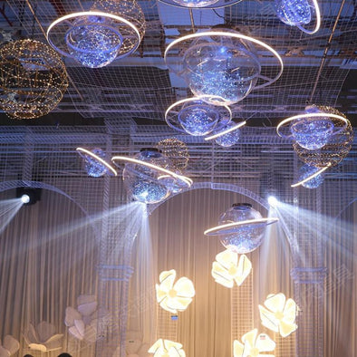 LED Flash Star Ball Wedding Decoration Space Planet Hanging Ornament Chandelier