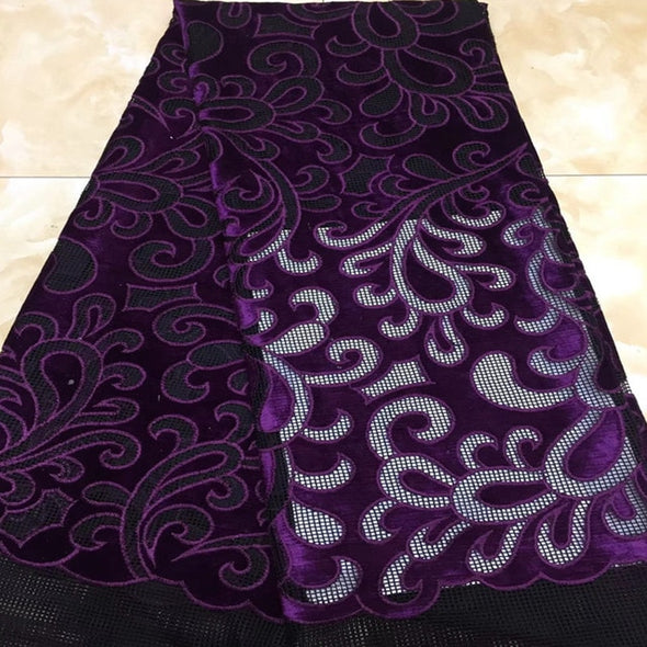 5 yds African Lace Fabric High Quality Rope Embroidery African Tulle Lace Fabric Velvet French Net