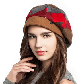Wool Felt Plaid Beret Hat Red Orange Green Berets - Cosplay Infinity