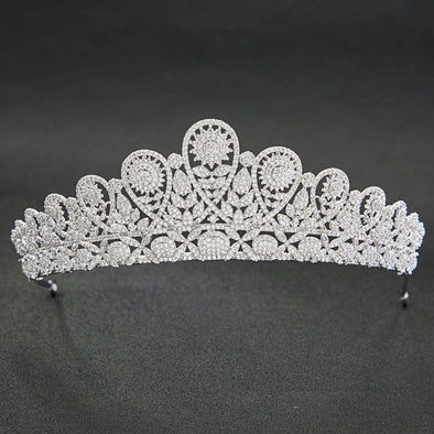 Classic CZ Cubic Zirconia Flower Wedding Bridal Silver Tiara Diadem Crown Women Girl Prom Cosplay Party - Cosplay Infinity