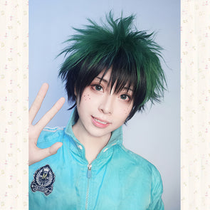 My Boku no Hero Academia Izuku Midoriya Short Green Black Mix Cosplay Costume Wig - Cosplay Infinity