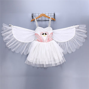 Girls Princess Swan Flamingo Cosplay Dress Costume With Wings Cotton Kids Birthday Party