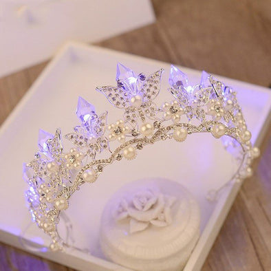 Butterfly Bridal Crystal Pearl Crowns LED Light Wedding Tiara Cosplay Costume - Cosplay Infinity