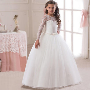 Party Girls Princess Dress Kids Dancing Party Lace Tulle Long Sleeve - Cosplay Infinity