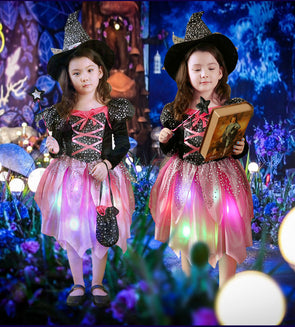 2018 New Kids LED Light Witch Costume Children Girls Cosplay Costumes Halloween - Cosplay Infinity