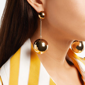 Big Metal Gold Large Ball Drop Earrings