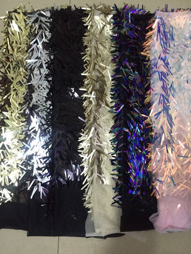 5 yards New Large Sequined African French Mesh Net Lace Fabric For Evening Party Dress Fabrics