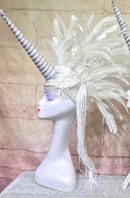 Cosplay Dance Costumes Sexy Feather Catwalk Stage Unicorn Headdress
