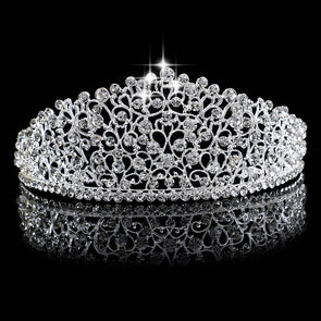Gorgeous Silver Big Wedding Diamante Pageant Tiaras Crystal Bridal Crown Cosplay