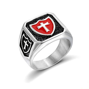 Medieval Signet Ring Stainless Steel Titanium Red Armor Shield Knight Templar Crusader Cross Ring Gift Men