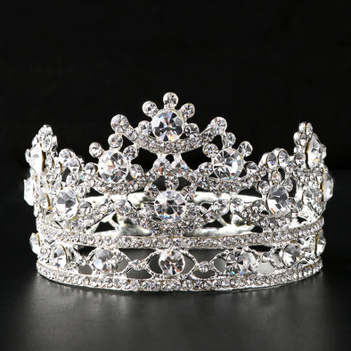 Silver Round Bridal Tiaras and Crowns Silver Plated and Gold Color Wedding Hair Accessories for Women