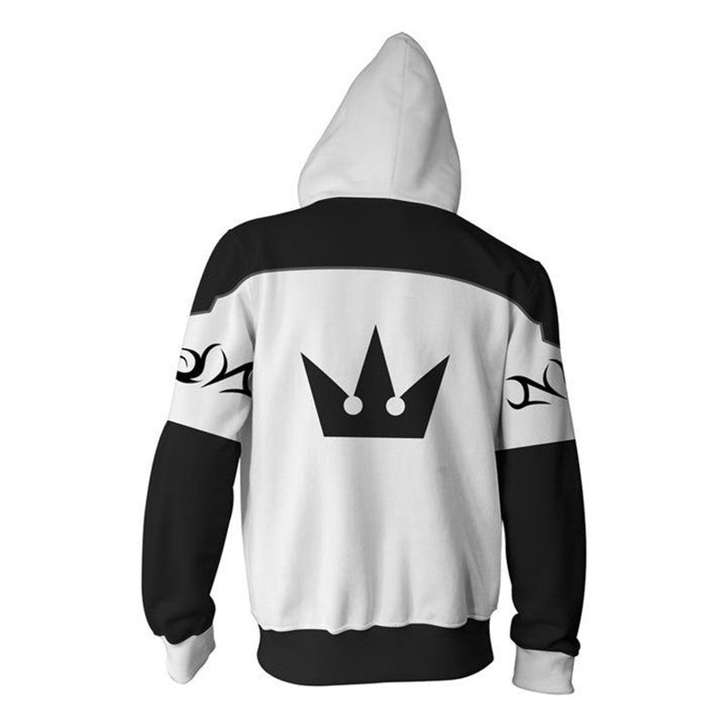 Kingdom Hearts Xemnas Printed Hooded Casual Zip Sweater Unisex  Costumes