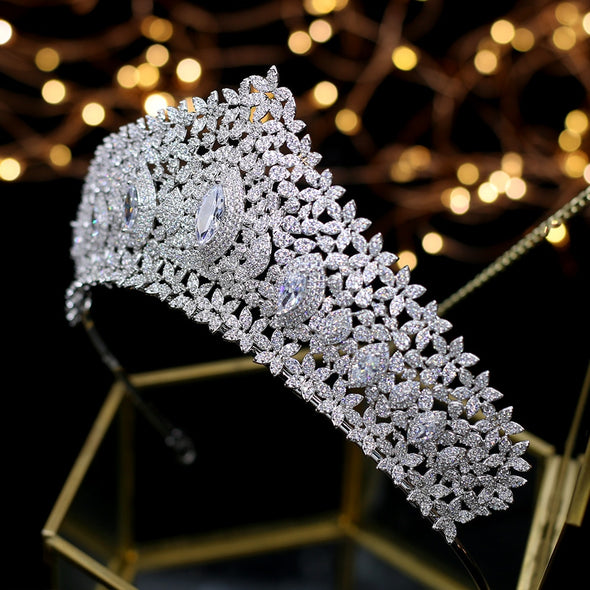 Full Cubic Zircon Crystal Tiaras Crowns Silver Wedding Royal Princess Evening Hair Jewelry Cosplay Queen - Cosplay Infinity