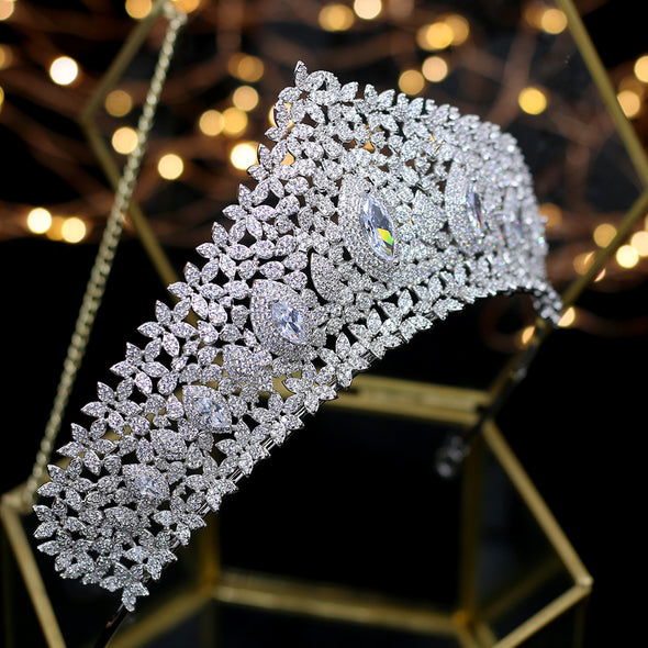 Full Cubic Zircon Crystal Tiaras Crowns Silver Wedding Royal Princess Evening Hair Jewelry Cosplay Queen