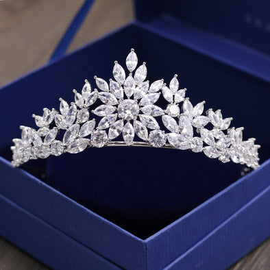 Gorgeous Wedding Cubic Zirconia Tiara Bridal CZ Crown - Cosplay Infinity