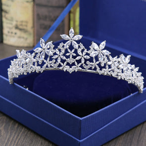 Vintage Clear Cubic Zirconia Wedding Tiara Crown Floral - Cosplay Infinity