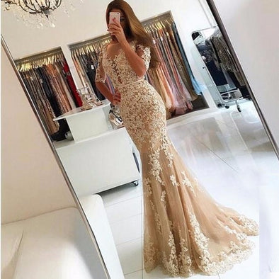 Half Sleeves Backless Formal Evening Gowns Illusion Sheer Tulle Lace Mermaid Prom Bridal Dresses Custom - Cosplay Infinity