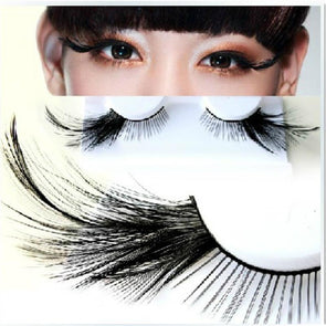 Black Feather False Eyelashes Party Masquerade Nightclub Cosplay Natural Long Full Strip Eyelashes