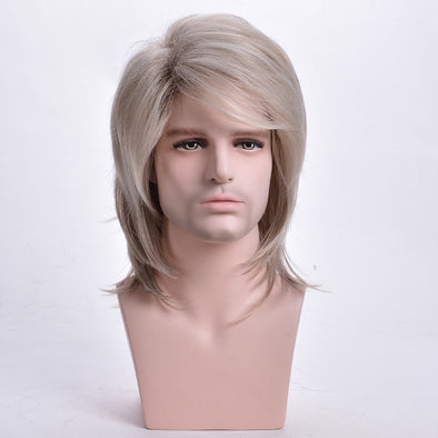 Men Wig Straight Synthetic Wigs Natural Long Light Blonde Mens Cosplay Costume Wig with Bangs Heat Resistant Toupee - Cosplay Infinity