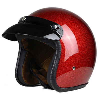 Motorcycle Helmet for Men & Women, Classic Retro Open Face Design Lightweight DOT Certified for Motorbike Cruiser M E
