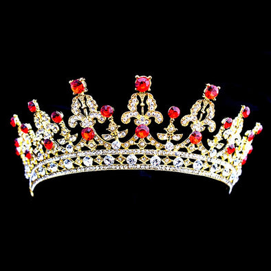 Crystal Vintage Wedding Red Gold Silver Tiara Crown Rhinestone Bridal Hair Jewelry