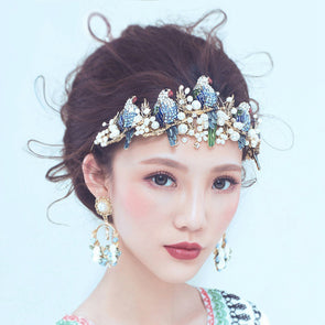 European Bird Parrot Shape Bridal Hairband Crown Tiara Blue Crystal