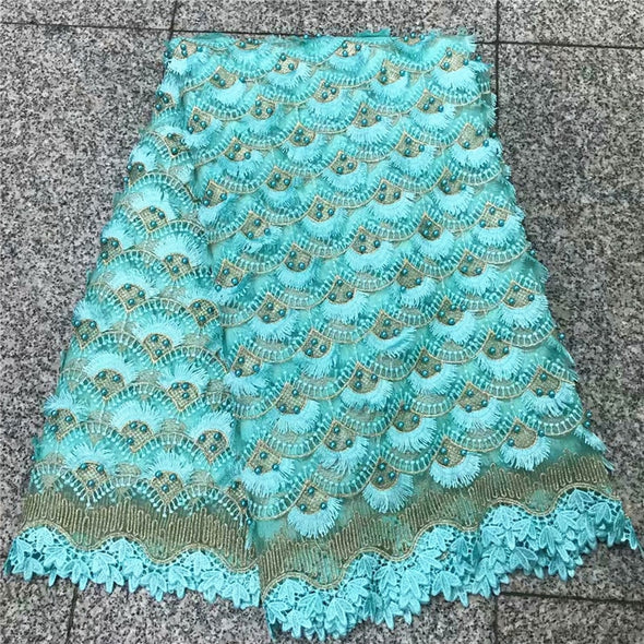 5 Yards Teal Green African Mesh Lace Fabric High Quality Embroidered Nigerian Guipure Laces Fabric With Beads - Cosplay Infinity