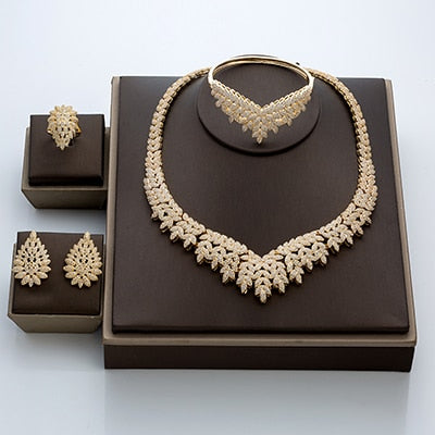 Micro Pave Cubic Zirconia Dubai Wedding Jewelry Sets