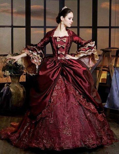 Luxury Burgundy Marie Antoinette Period Dress Queen Renaissance Performance Clothing Party Ball Gown - Cosplay Infinity