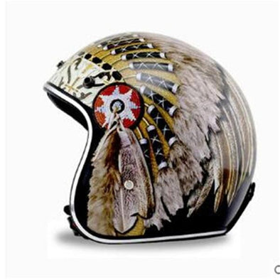 Native American Harley Motorcycle Helmets half face open face Helmet DOT Approved