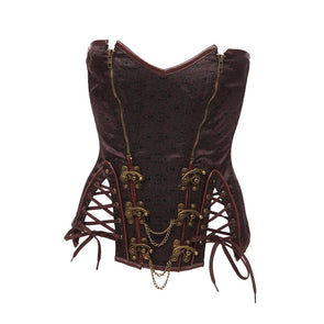 Sexy Women Steampunk Corset Brown Plus Size S-6XL Chains Zippers Steampunk Cosplay Costume Clothing Push Up Cleavage Sides Split Bustier