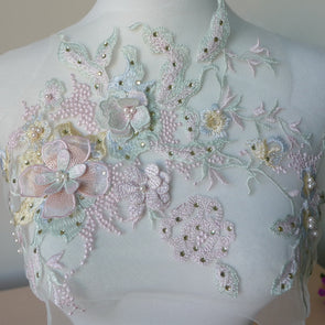 One Piece 30*23cm 3D Flower Colorful Mesh Embroidered Pearl Beaded Lace Applique With Sequins DIY Lace Fabric Trim