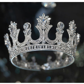 Round Tiara Crown Clear Cubic Zirconia Austrian Rhinestone Large Wedding Bridal Hair Accessory Cosplay - Cosplay Infinity