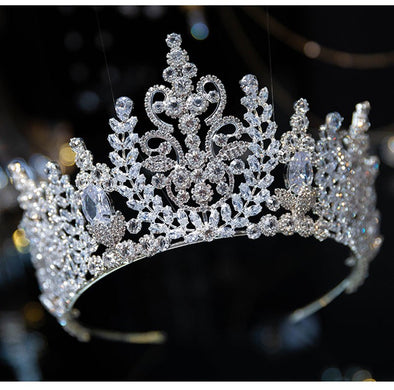 New Rhinestone Zirconia Tiara Silver Gold Crown Royal Bridal Wedding Hair Accessories Women Hair Jewelry - Cosplay Infinity