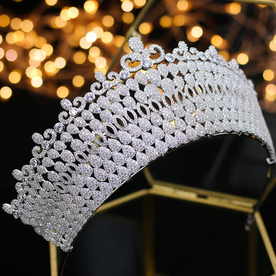 Luxury Bridal Tiara Grand Crown Cubic Zirconia - Cosplay Infinity