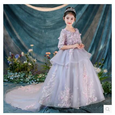 Girl's Ball Gown w/ Train Flower Wedding Princess Flower Girl Appliques Dress+Crown+Bustle - Cosplay Infinity