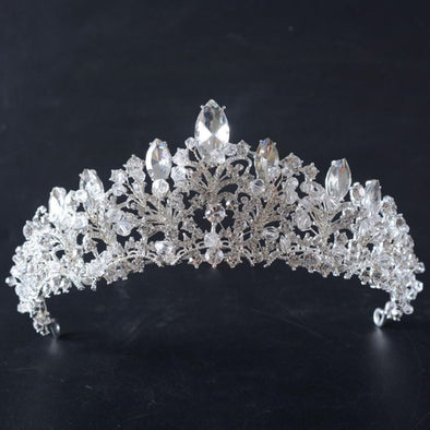 Silver Baroque Bridal Wedding Crowns and Tiaras Luxury Rhinestone Crystal Hair Accessories Pageant Party Cosplay