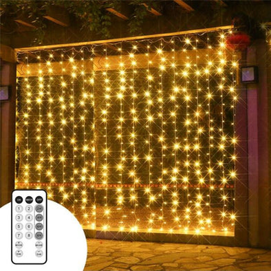 3X3M 300 LEDS Christmas Garlands LED String Christmas Net Lights Fairy Garden Party Wedding Decoration Curtain Lights - Cosplay Infinity