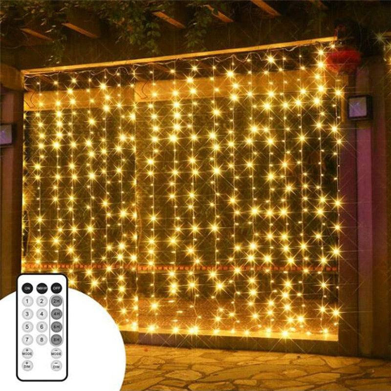 Christmas Lighted Garlands.3x3m 300 Leds Christmas Garlands Led String Christmas Net Lights Fairy Garden Party Wedding Decoration Curtain Lights