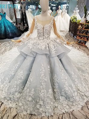 New Arrivals Lace Wedding Dress Ball Gown Royal Train Luxury Wedding Gowns Long Sleeve Bridal Dresses - Cosplay Infinity