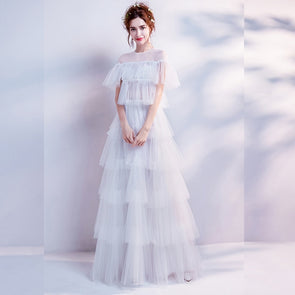 Scoop-Neck Short Sleeves Floor-Length A-Line Gown Tulle White Elegant Evening Dresses Custom - Cosplay Infinity